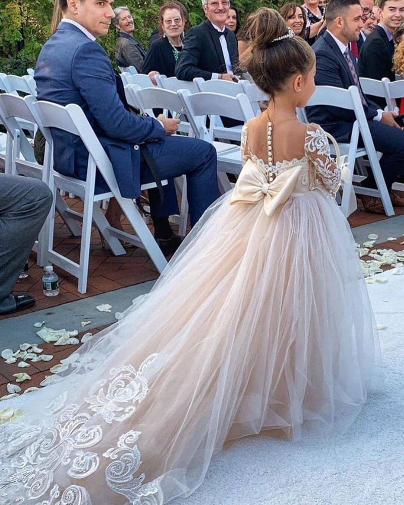 Ball Gown Long Sleeve Strapless Floor Length Tulle Applique With Back Bow Flower Girl Dress