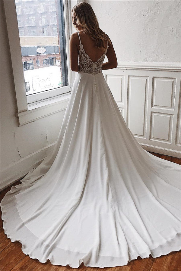 A-line Deep V-neck Court Spaghetti Strap Chiffon Crochet Flower Backless Wedding Dress