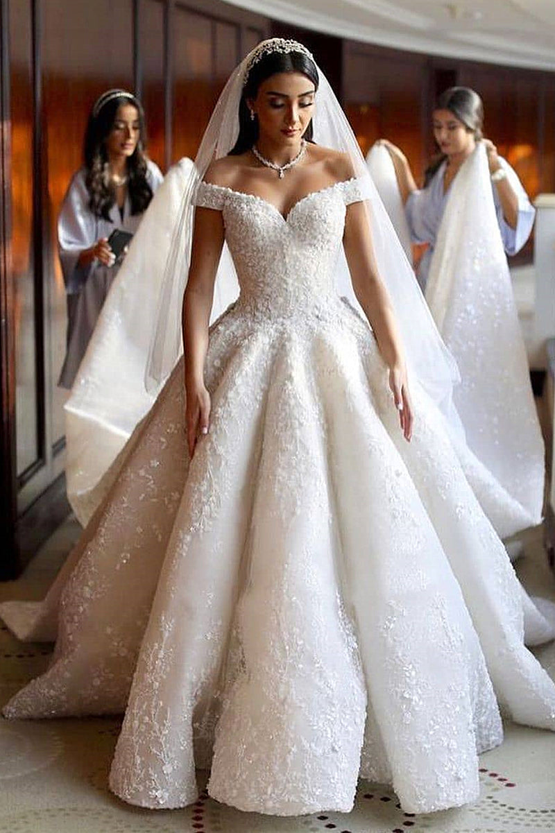 Ball Gown Off-the-shoulder Floor Length Applique Wedding Dress