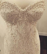 Ballbella offers Amazing Sweetheart Lace Mermaid Pearls Zipper Wedding Dress at factory price ,all made in high quality. Extta coupons to save a heap.