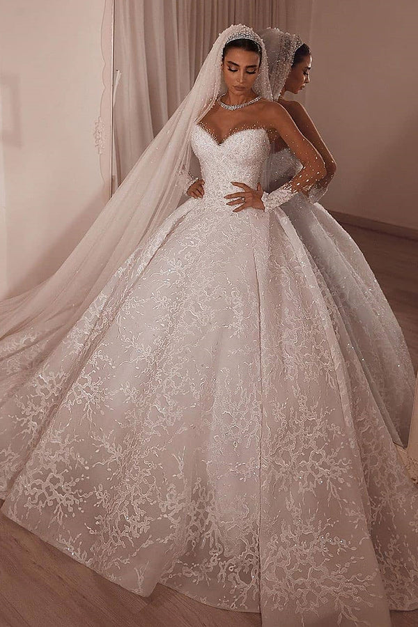 Ball Gown Sweetheart Sweep Train Organza Applique Paillette Wedding Dress