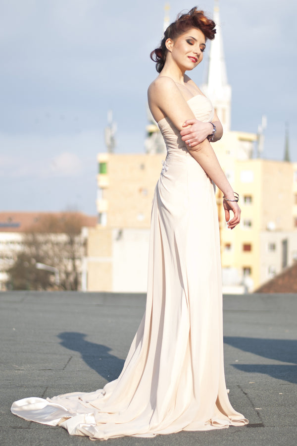 A-line Sweetheart Front Slit Floor Length Chiffon Applique Evening Dress