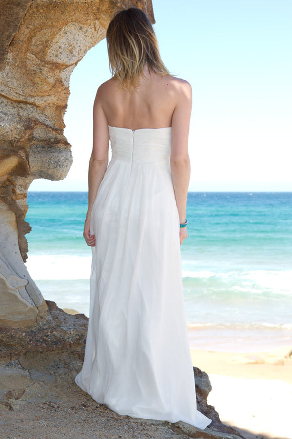 A-line Strapless Floor Length Court Chiffon Backless Wedding Dress