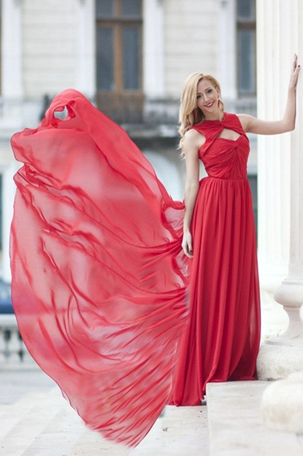 A-line Sweetheart Floor Length Sleeveless Chiffon Evening Dress
