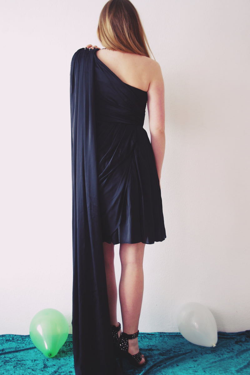 A-line Sweetheart One-shoulder Hi-low Length Chiffon Bridesmaid Dress