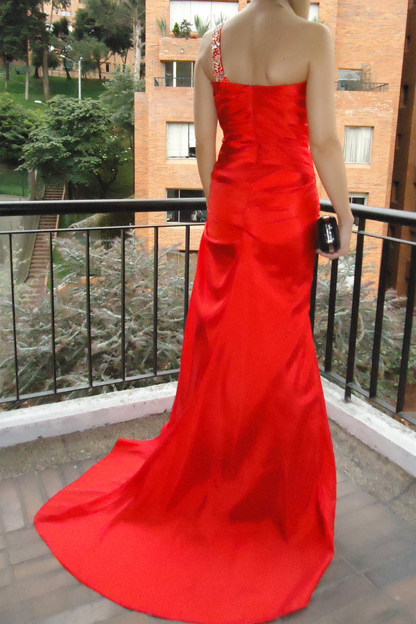 Sheath Sweetheart One-shoulder Floor Length Chiffon Rhinestone Evening Dress