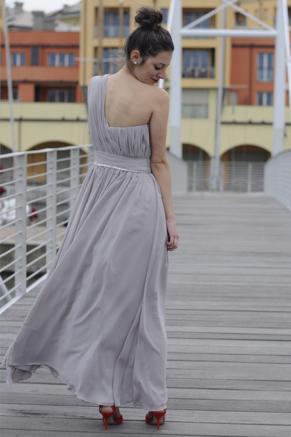 A-line One-shoulder Floor Length Chiffon Evening Dress