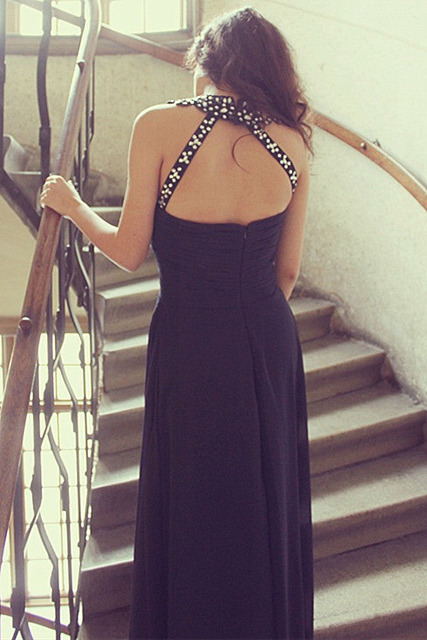 A-line Halter Floor Length Sleeveless Chiffon Rhinestone Evening Dress