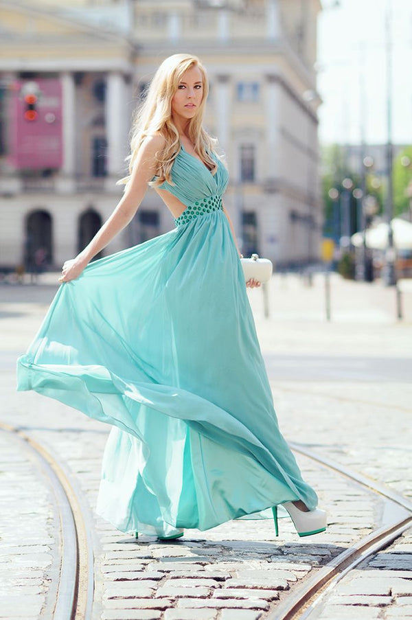 A-line V-neck Wide Straps Sleeveless Floor Length Backless Chiffon Evening Dress