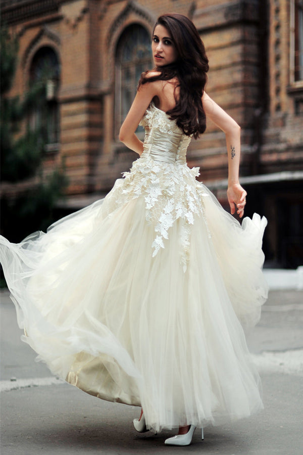 A-line Strapless Floor Length Charmuse Tulle Applique Wedding Dress