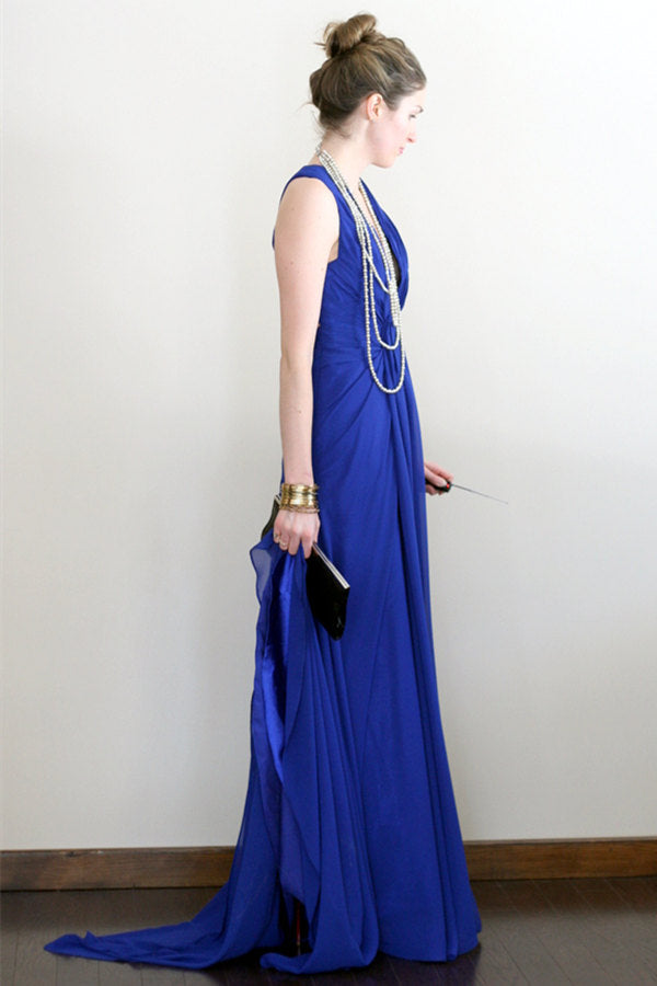 A-line V-neck Halter Floor Length Crossed Back Chiffon Evening Dress