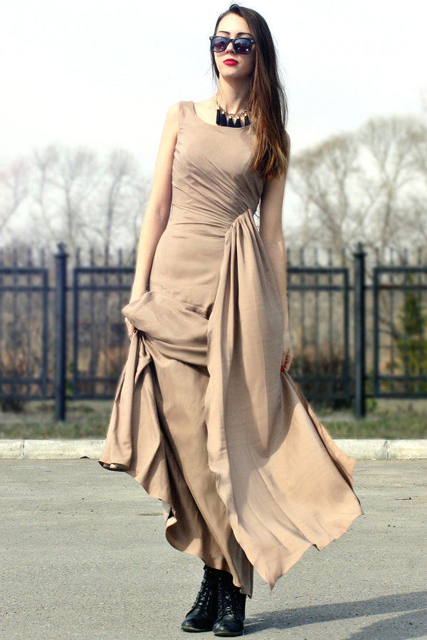 Sheath Small Round Collar Floor Length Chiffon Evening Dress