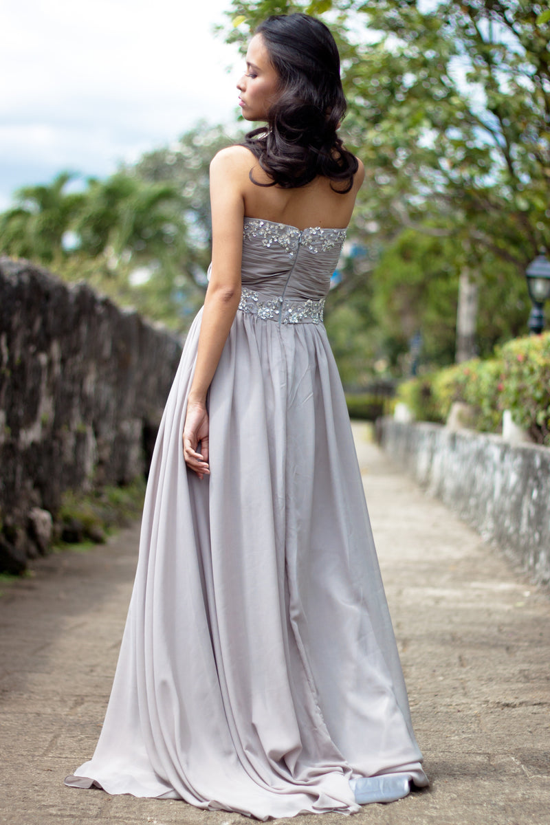A-line Strapless Floor Length Chiffon Beaded Applique Evening Dress