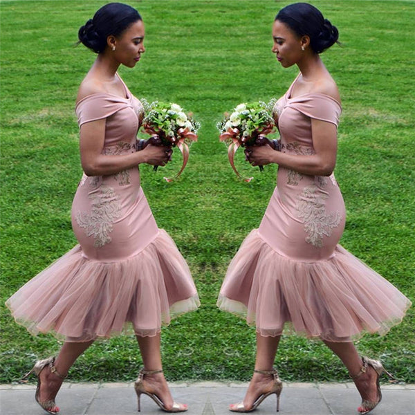 Ballbella offers On Sale Off-the-Shoulder Pink Bridesmaid Dress Appliques Mermaid Chic Short Bridesmaid Dress at a cheap price from Tulle to Mermaid Tea-length hem. Gorgeous yet affordable Sleeveless Evening Dresses, Bridesmaid Dresses.