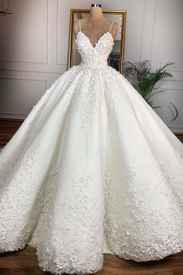 Ball Gown Spaghetti Strap Floor Length Organza Applique Wedding Dress