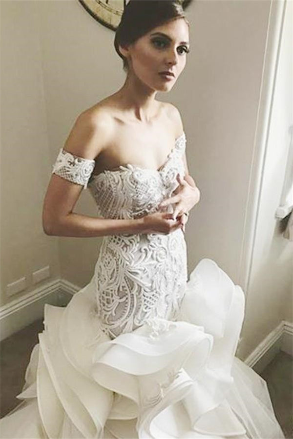 AmazingOff the Shoulder Mermaid Ruffless Bridal GownsNew Arrival White Lace Appliques Zipper Wedding Dress