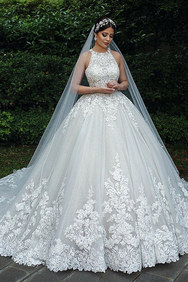 Ball Gown Halter Floor Length Backless Tulle Lace Applique Wedding Dress