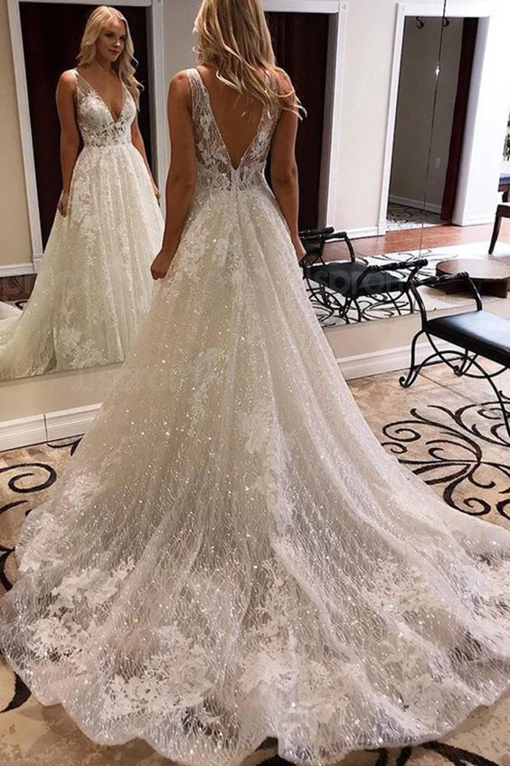 A-line V-neck Wide Strap Chapel Train Tulle Crochet Flower Wedding Dress