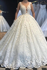 Ball Gown V-neck Wide Strap Floor Length Tulle Applique Lace Wedding Dress