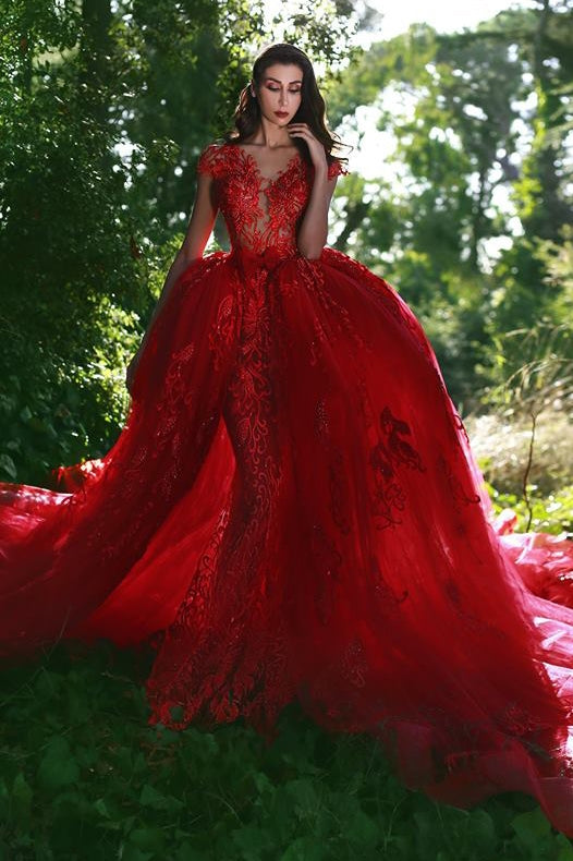 Ballbella.com custom made luxurious red ball gown formal dress,  v-neck cap sleeves lace applique over-skirt evening dress,  and chapel train prom dress. Get elegant design with top quality,  lowest price and free shipping,  affordable price, all colors and sizes.