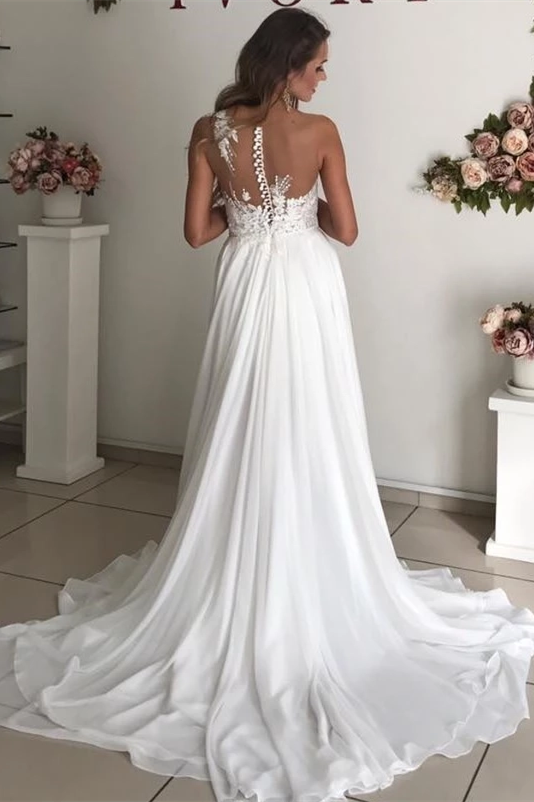 Sheath V-neck Spaghetti Strap Floor Length Backless Chiffon Applique Wedding Dress