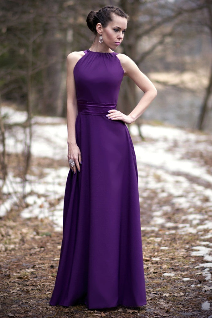 A-line Halter Floor Length Charmeuse Back-bow Evening Dress
