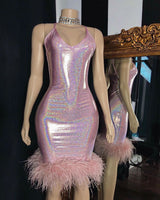 Looking for Prom Dresses, Evening Dresses, Homecoming Dresses in Column style,  and Gorgeous Feathers work? Ballbella has all covered on this elegant Radiant Mermaid V-neck Sleeveless Homecoming Dresses with Furs.