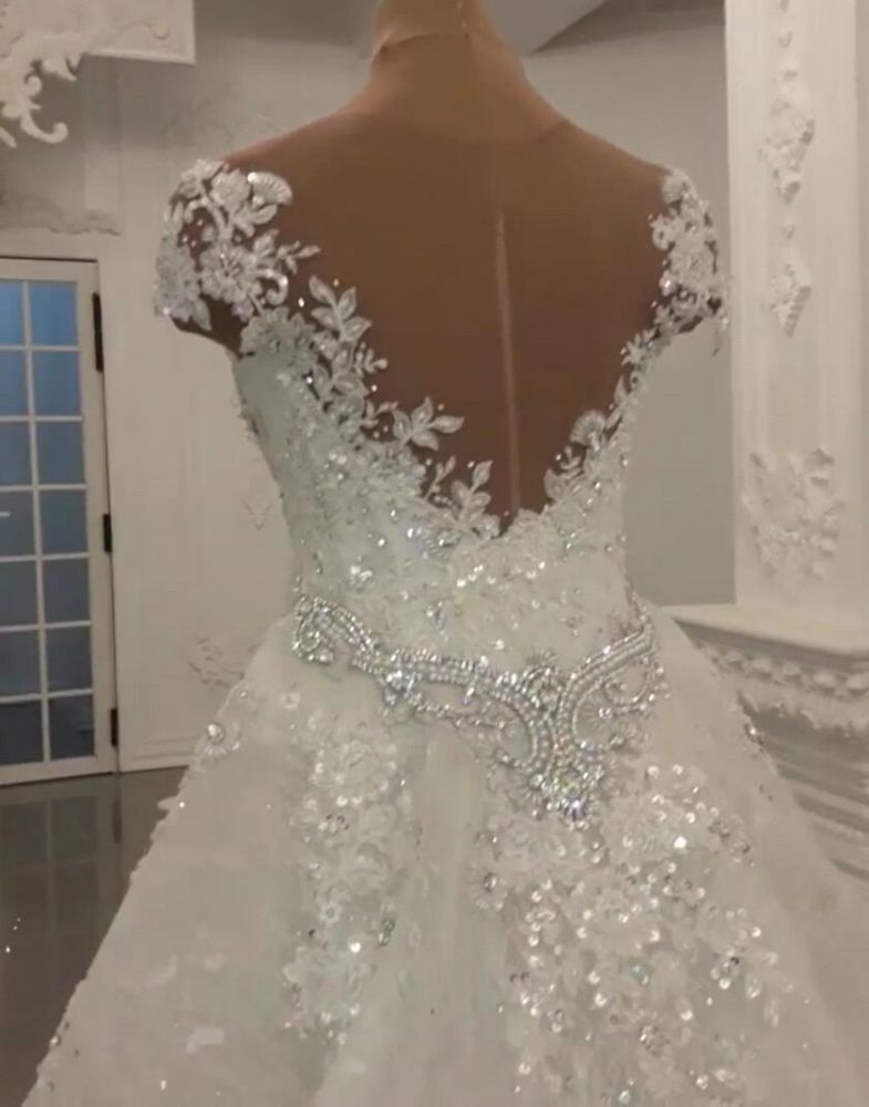 Ballbella offers newGorgeous Crystal Lace Off-the-Shoulder V-neck Beading Bride Dresses with Detachable Overskirt at cheap prices. It is an elegant Princess in Satin, Tulle, Lace,  which makes your dreamy wedding come true.