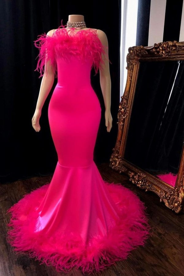 Looking for Prom Dresses, Evening Dresses, Real Model Series in Satin,  Mermaid style,  and Gorgeous Feathers work? Ballbella has all covered on this elegant Popular Feather Sleeveless Long Mermaid Evening Dresses.