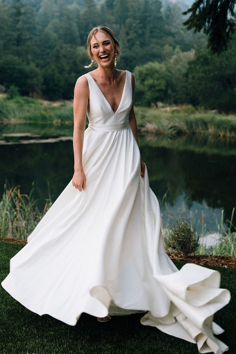 Sheath V-neck Wide Strap Floor Length Backless Chiffon Wedding Dress