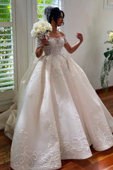 Ball Gown Off-the-shoulder Floor Length Tulle Applique Wedding Dress