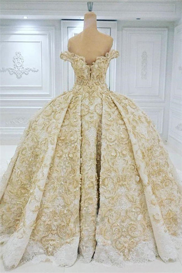 Off the shoulder Golden Lace Appliques Formal Ball Gown Wedding Dress