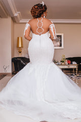 Mermaid Sweetheart Short Train Long Sleeves Backless Organza Applique Wedding Dress