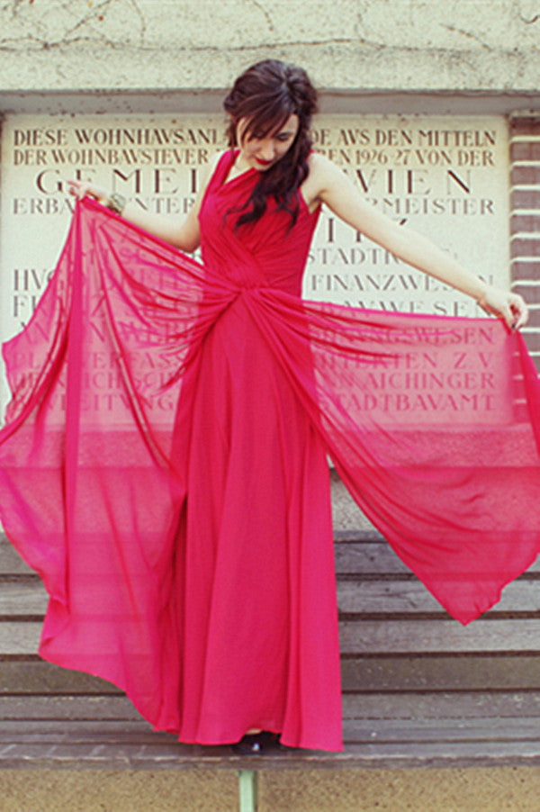 A-line Wide Straps Irregular Neck Floor Length Chiffon Evening Dress