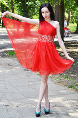 A-line One-shoulder Sweetheart Knee Length Tulle Rhinestone Homecoming Dress