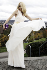 A-line V-neck Halt Floor Length Chiffon Rhinestone Evening Dress