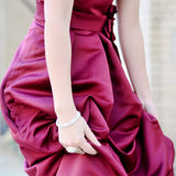 A-line Small Round Collar Floor Length Charmuse Bridesmaid Dress