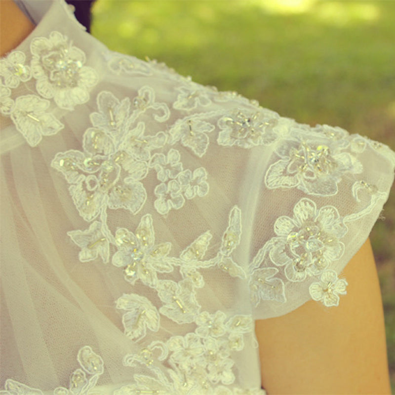 A-line Small Round Collar Tea Length Short Sleeves Tulle Applique Lace Wedding Dress