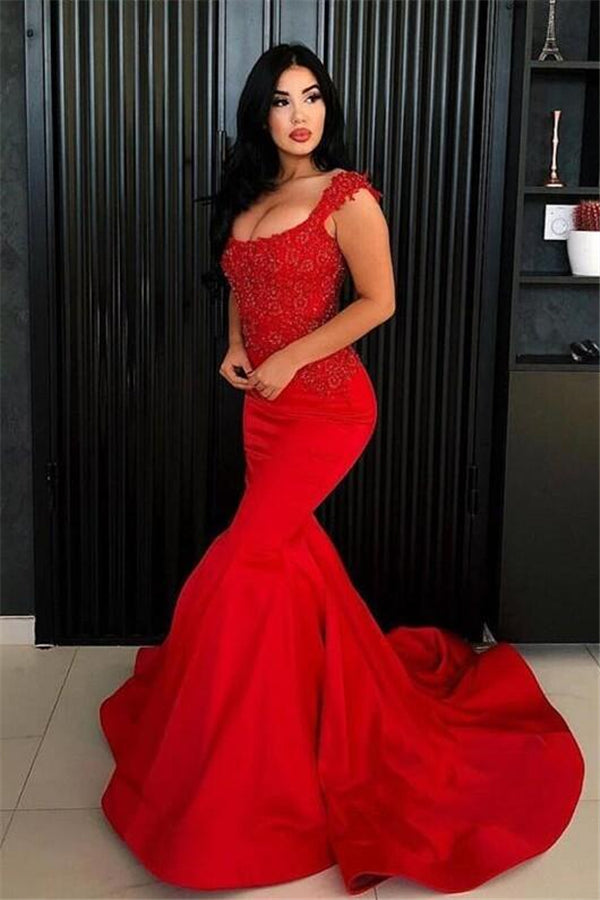 Chic Mermaid Straps Prom Party Gowns| New Arrival Long Lace Appliques Evening Gowns