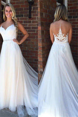 A Line Applique Court Train Sleeveless Tulle Scoop Wedding Dresses