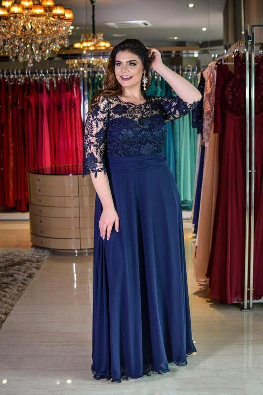Wanna Prom Dresses, Evening Dresses, Mother dress in 100D Chiffon,  A-line style,  and delicate Lace work? Ballbella has all covered on this elegant Plus size Half Sleeves Navy Blue Mother of bride Dress Modest Round neck Lace Bridesmaid Dress for Summer Wedding yet cheap price.
