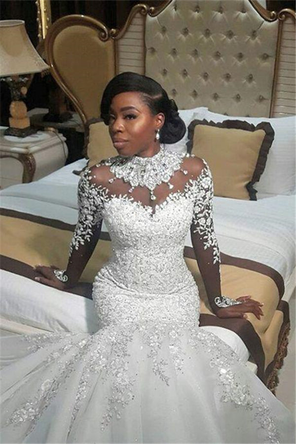 AmazingBeads Lace Appliques High Neck Wedding Dress Mermaid Bridal Dress