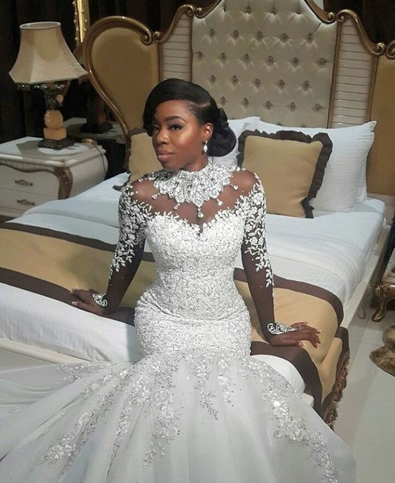 Ballbella custom made AmazingBeads Lace Appliques High Neck Wedding Dress online, 1000+ options, fast delivery worldwide.