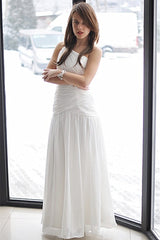 A-line One-shoulder Floor Length Chiffon Backless Wedding Dress