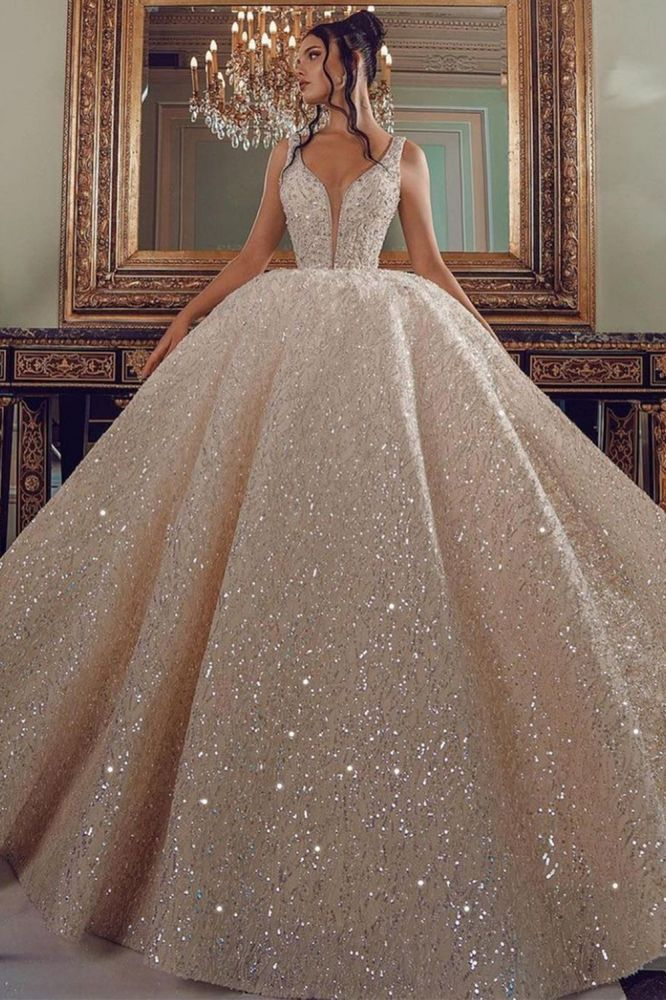 Ballbella offers Cathedral wedding dress V-Neck Aline Sequined Bridal Gowns Sleevelss at a good price, 1000+ styles, fast delivery.