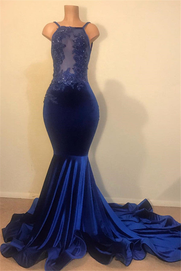 Looking for the best Chic Mermaid Spahgetti-Straps Openback Velvet Applique Prom Party Gowns? Ballbella provides you various ranges of mermaid prom dresses online,  you will never regret order here.