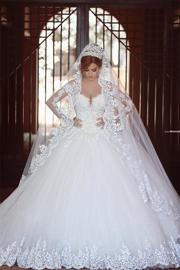 Classic White Lace Ball Gown Wedding Dress Popular Sweep Train Long Sleeves Bridal Gown