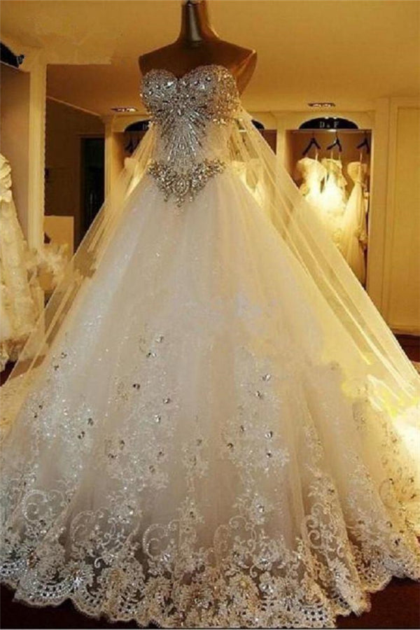 Amazing Bridal Dresses Sweetheart Appliques Crystal Beading Classic A Line Bridal Gowns