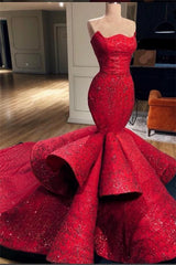 Gorgeous Mermaid Strapless Beadings Prom Party Gowns with Court Train