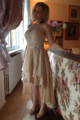 A-line Sweetheart Hi-low Length Chiffon Rhinestone Prom Dress